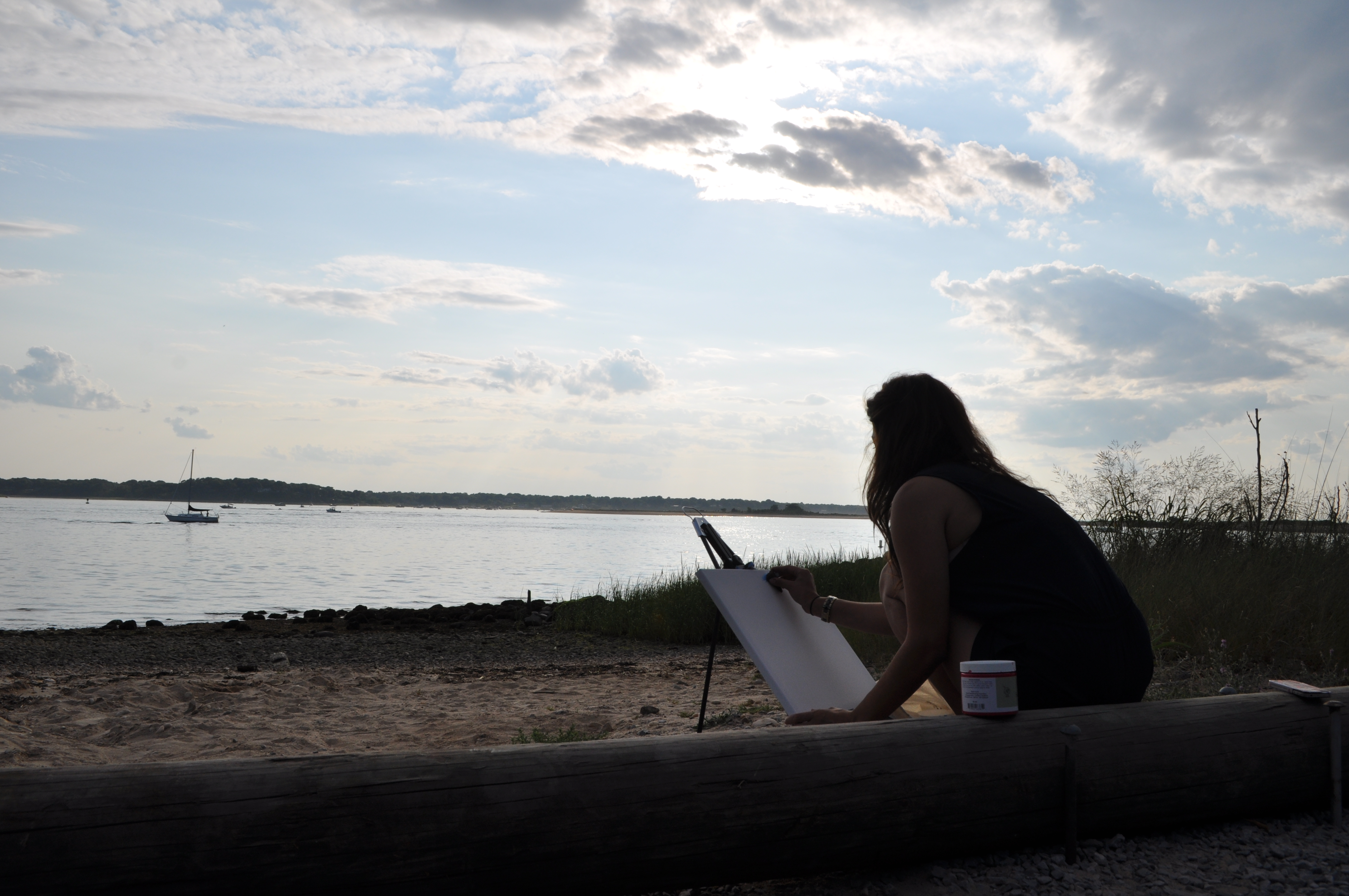 Enjoying the Ease, Painting a Memory at Port Jefferson, Long Island
