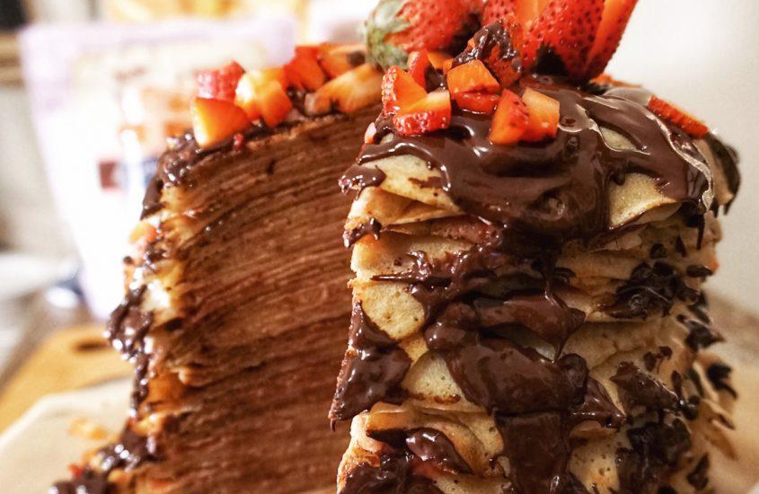 Vegan Strawberry Dark-Chocolate Crêpe Cake