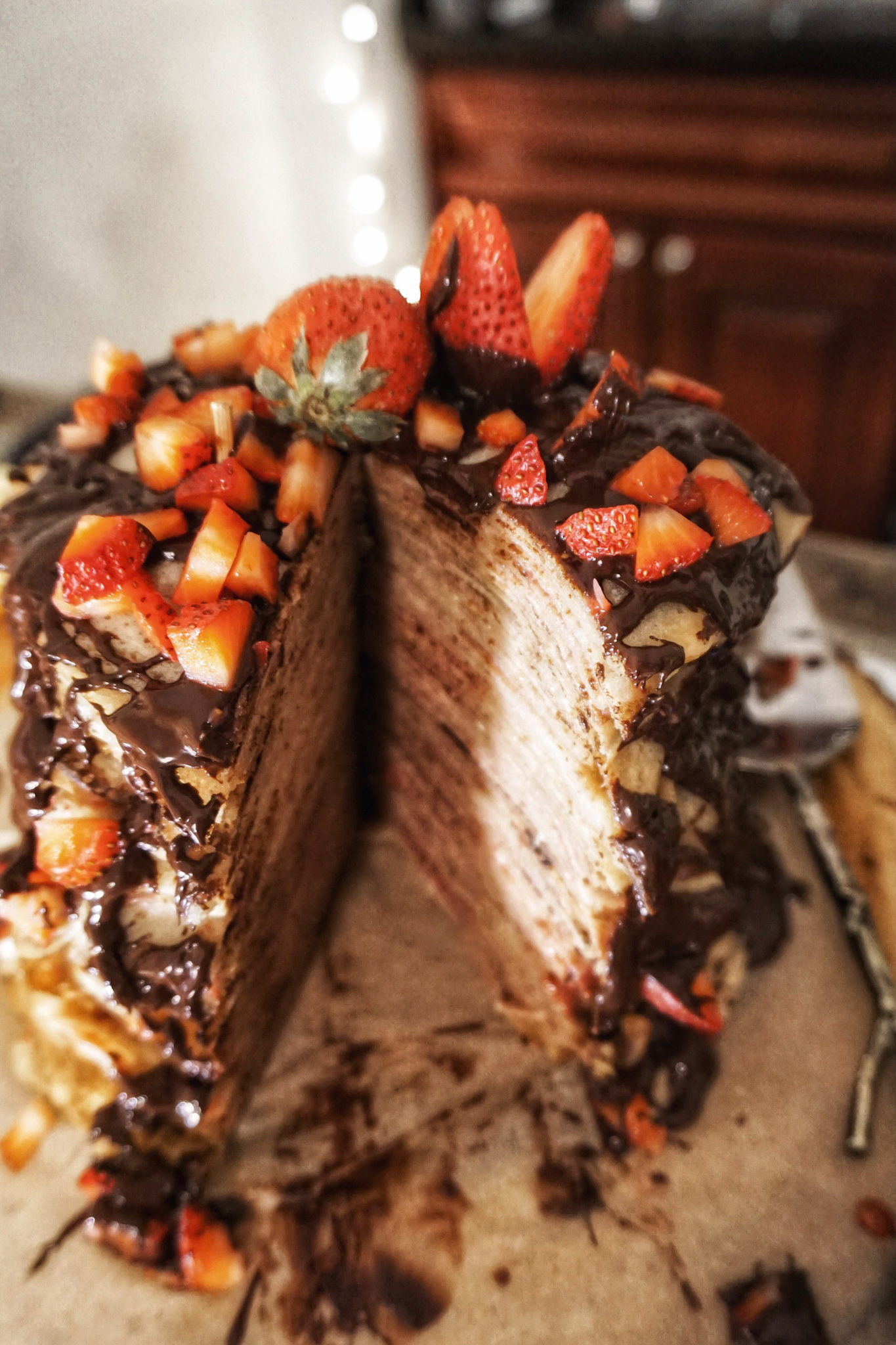 strawberry vegan crepe cake healthy